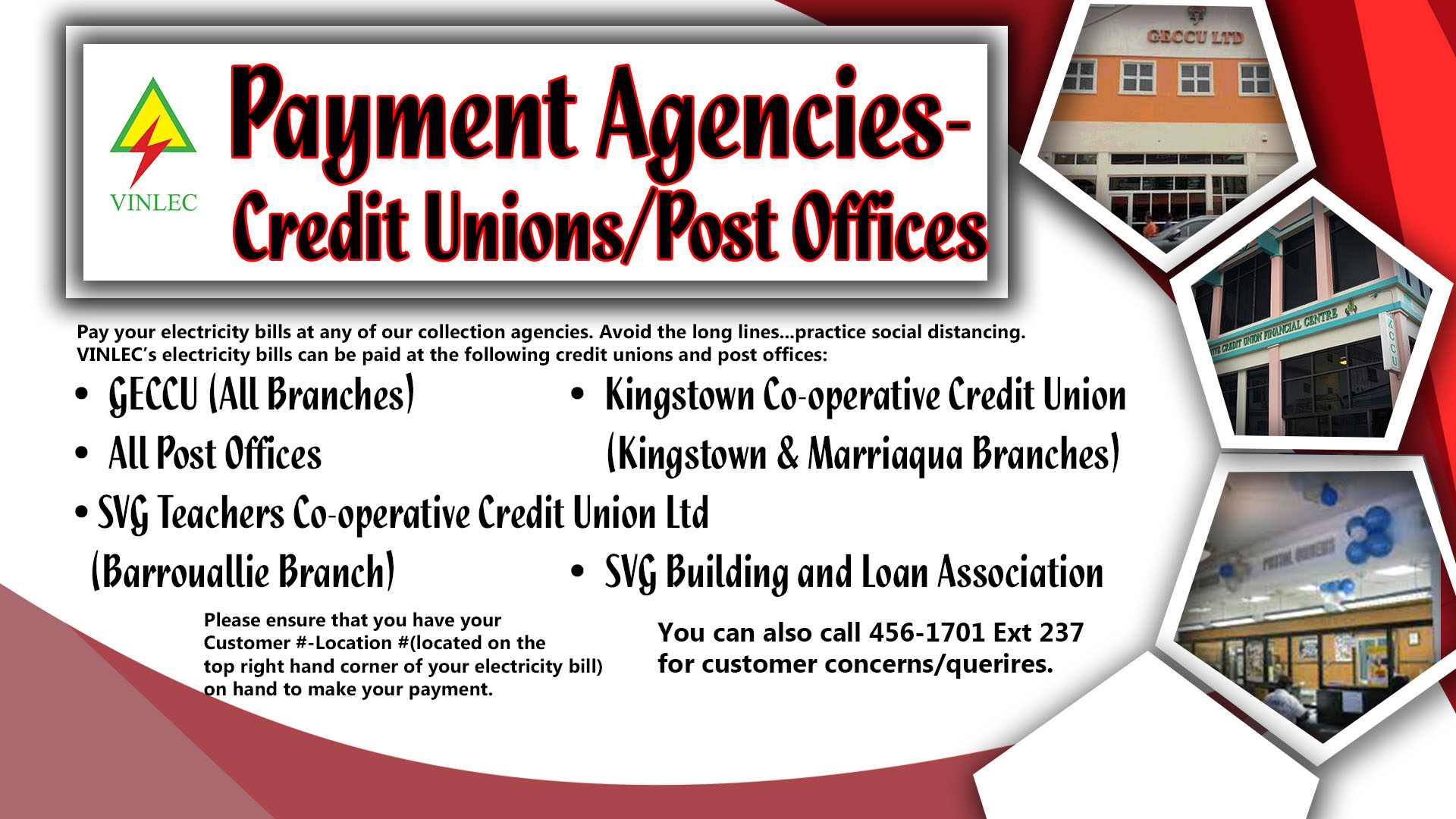 Payment Agencies Credit Unions/Post Offices